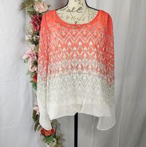 Alfani Pullover 2fer Blouse size XL Coral/White